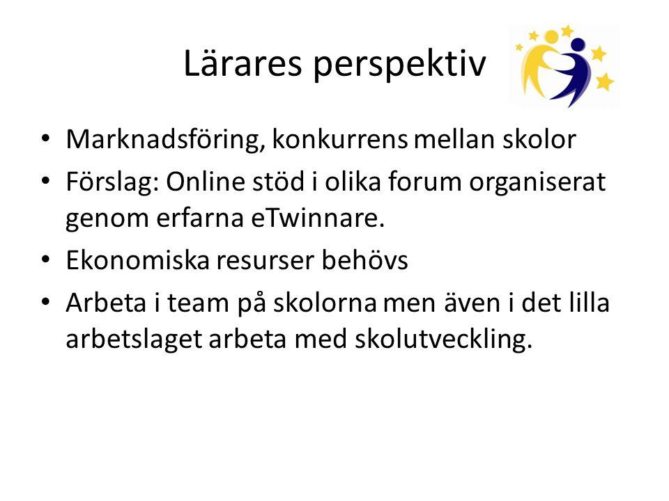 Lärares perspektiv • Marknadsföring, konkurrens mellan skolor • Förslag: Online stöd i olika forum organiserat genom erfarna eTwinnare.