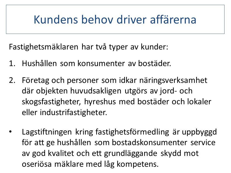 Kundens behov driver affärerna • Sverige har en stor andel hyresrätter samt att vi har bostadsrätt som upplåtelseform.
