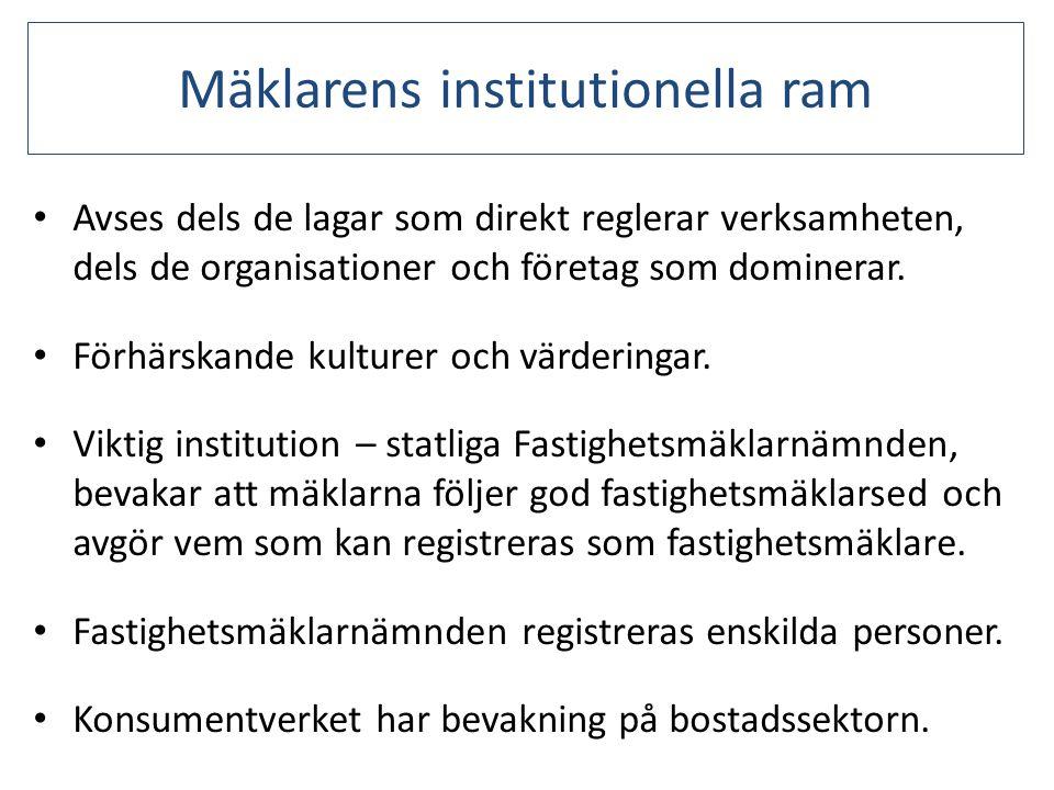Mäklarens institutionella ram • Avses dels de lagar som direkt reglerar verksamheten, dels de organisationer och företag som dominerar. • Förhärskande
