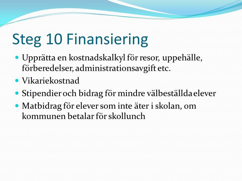 Steg 10 Finansiering  Upprätta en kostnadskalkyl för resor, uppehälle, förberedelser, administrationsavgift etc.