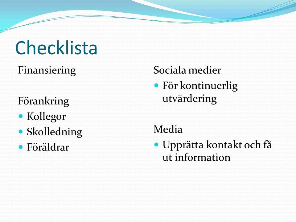 Checklista Finansiering Förankring  Kollegor  Skolledning  Föräldrar Sociala medier  För kontinuerlig utvärdering Media  Upprätta kontakt och få ut information