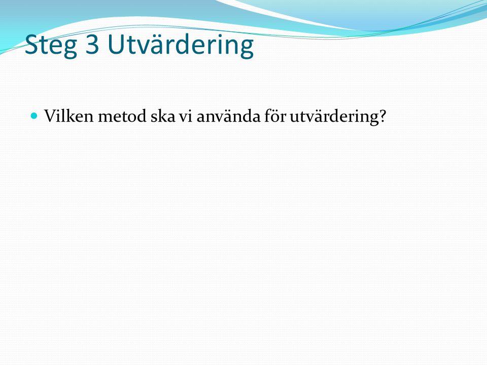 Steg 3 Utvärdering  Vilken metod ska vi använda för utvärdering