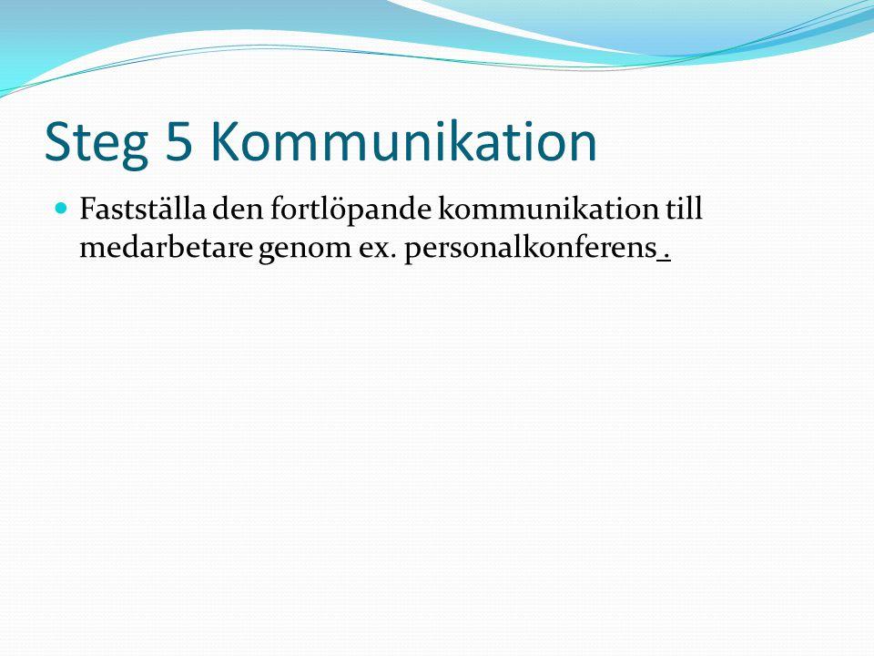 Steg 5 Kommunikation  Fastställa den fortlöpande kommunikation till medarbetare genom ex.