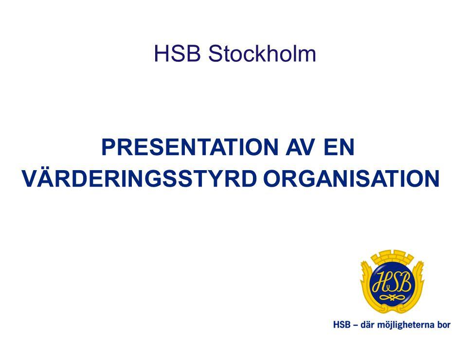 PRESENTATION AV EN VÄRDERINGSSTYRD ORGANISATION HSB Stockholm