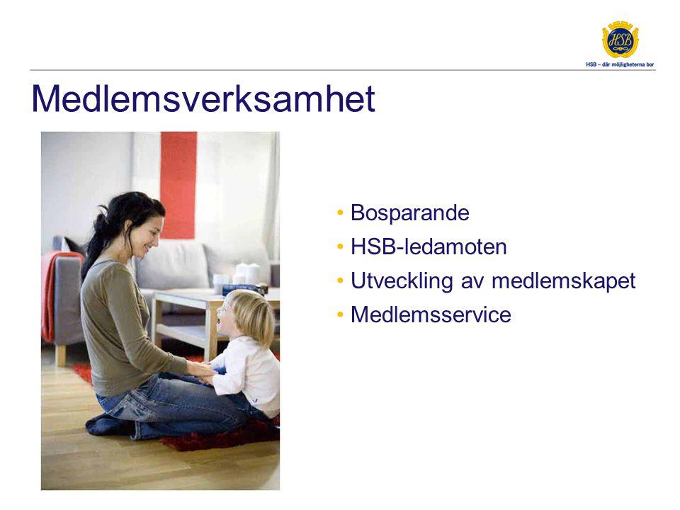Medlemsverksamhet • Bosparande • HSB-ledamoten • Utveckling av medlemskapet • Medlemsservice