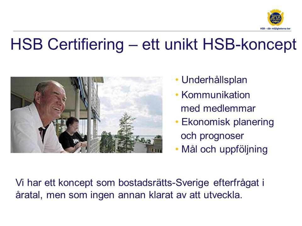 HSB Certifiering – ett unikt HSB-koncept • Underhållsplan • Kommunikation med medlemmar • Ekonomisk planering och prognoser • Mål och uppföljning Vi h