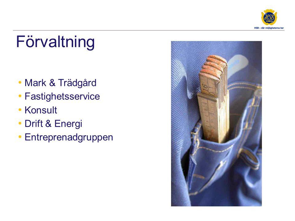 Förvaltning • Mark & Trädgård • Fastighetsservice • Konsult • Drift & Energi • Entreprenadgruppen