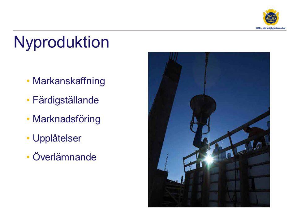 Nyproduktion • Markanskaffning • Färdigställande • Marknadsföring • Upplåtelser • Överlämnande