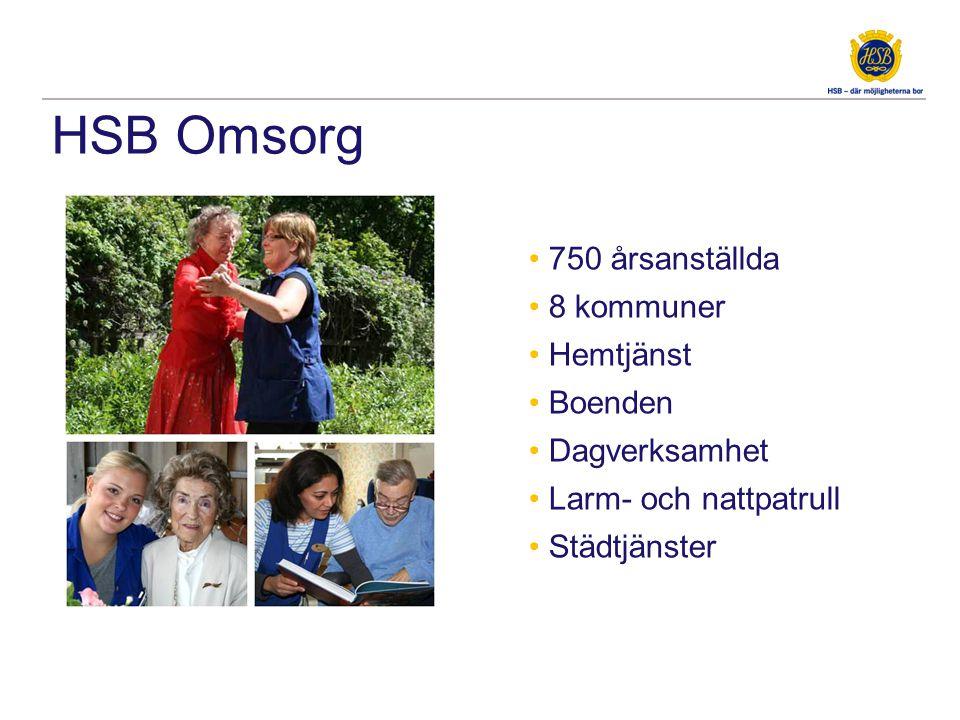 HSB Omsorg • 750 årsanställda • 8 kommuner • Hemtjänst • Boenden • Dagverksamhet • Larm- och nattpatrull • Städtjänster