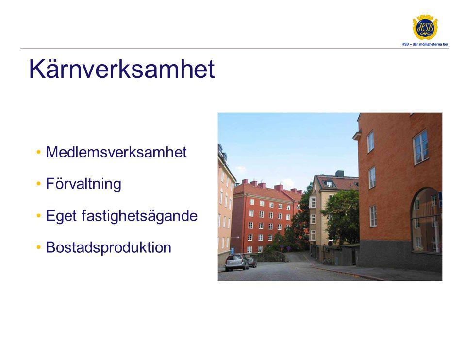 Kärnverksamhet • Medlemsverksamhet • Förvaltning • Eget fastighetsägande • Bostadsproduktion