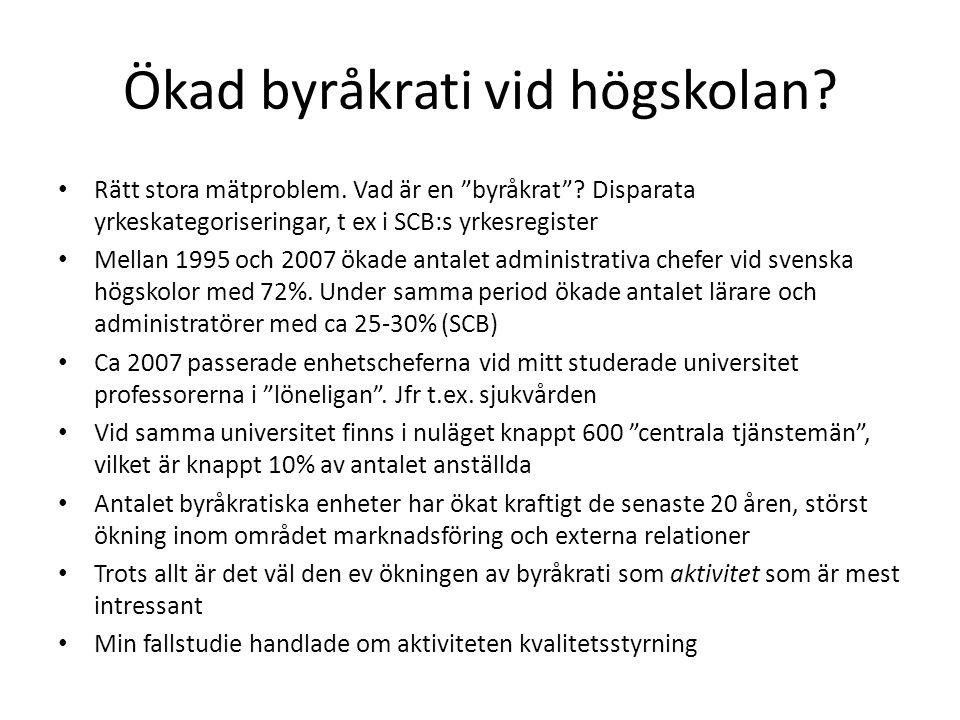 """Ökad byråkrati vid högskolan? • Rätt stora mätproblem. Vad är en """"byråkrat""""? Disparata yrkeskategoriseringar, t ex i SCB:s yrkesregister • Mellan 1995"""