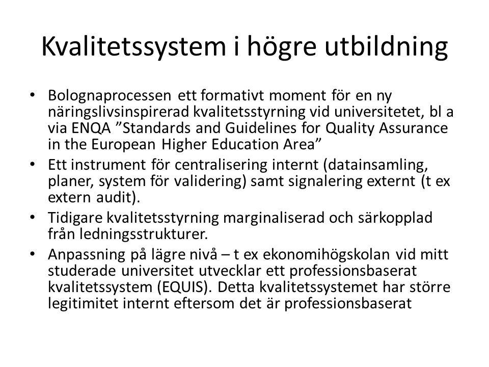 Kvalitetssystem i högre utbildning • Bolognaprocessen ett formativt moment för en ny näringslivsinspirerad kvalitetsstyrning vid universitetet, bl a v