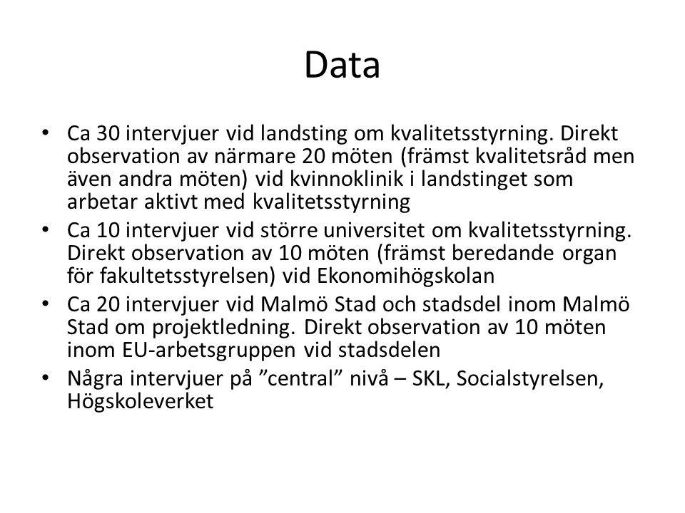 Data • Ca 30 intervjuer vid landsting om kvalitetsstyrning. Direkt observation av närmare 20 möten (främst kvalitetsråd men även andra möten) vid kvin