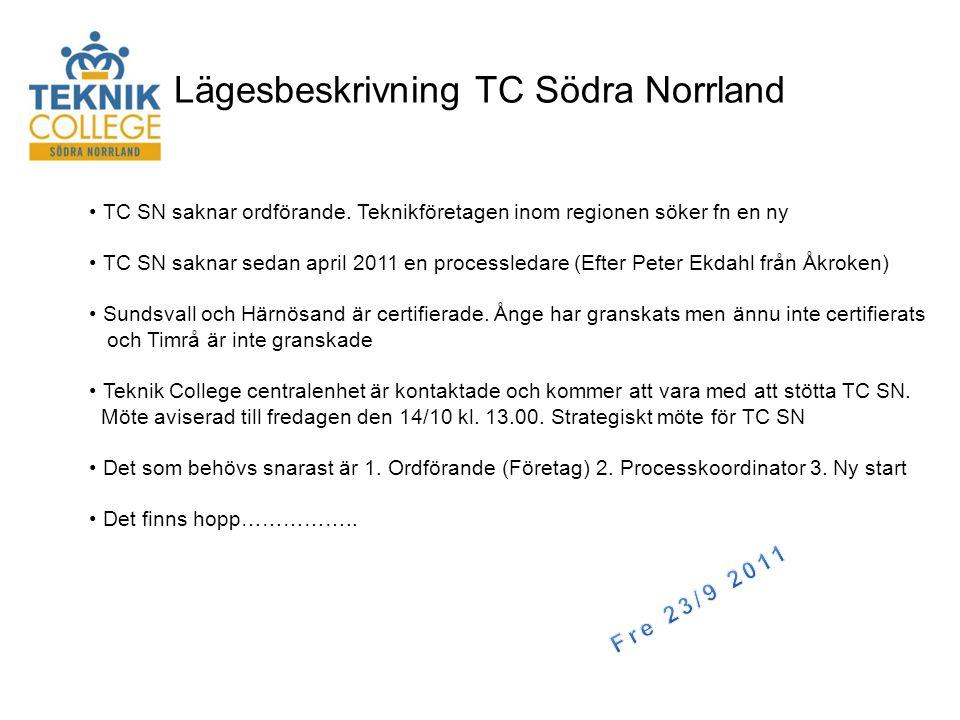 Lägesbeskrivning TC Södra Norrland • TC SN saknar ordförande.