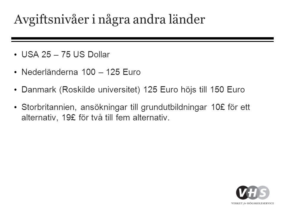 Avgiftsnivåer i några andra länder • USA 25 – 75 US Dollar • Nederländerna 100 – 125 Euro • Danmark (Roskilde universitet) 125 Euro höjs till 150 Euro • Storbritannien, ansökningar till grundutbildningar 10£ för ett alternativ, 19£ för två till fem alternativ.