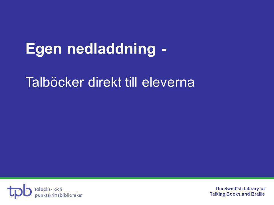 The Swedish Library of Talking Books and Braille Hur blir man registrerare •Skicka en e-post till digbib@tpb.se med uppgifternadigbib@tpb.se –För- och efternamn –Personnummer –E-postadress och telefonnummer –Bibliotekets namn och adress •De som är knutna till biblioteket kan vara registrerare •Samarbeta med lärare och specialpedagoger i marknadsföring av tjänsten
