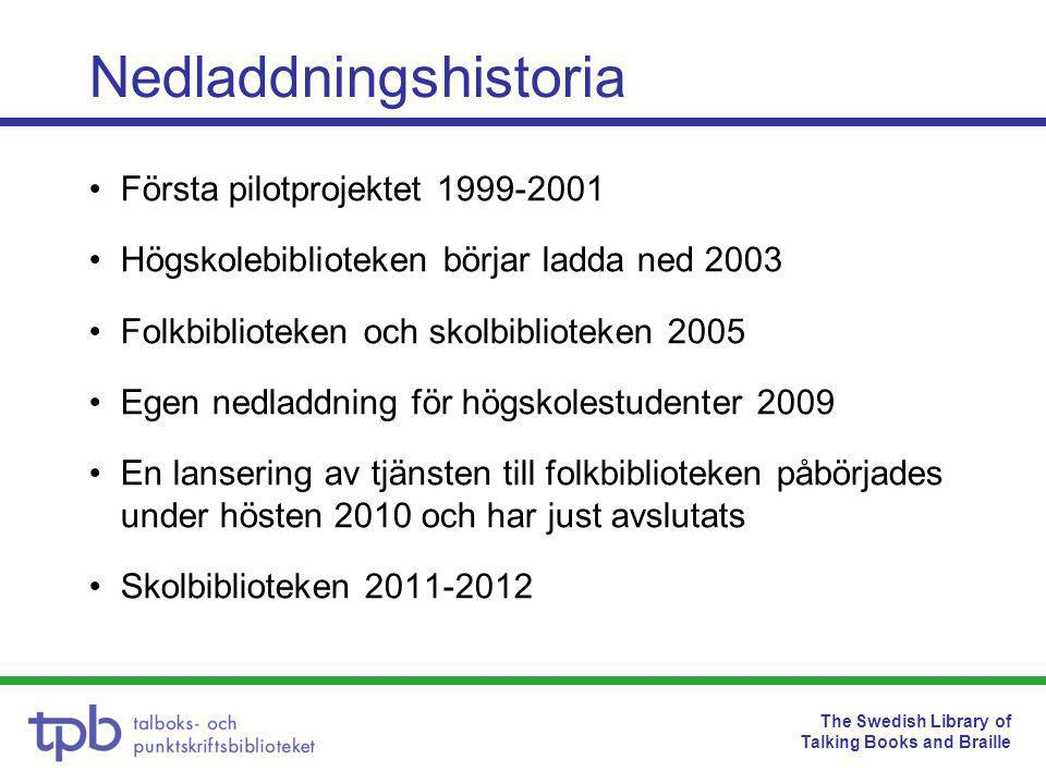The Swedish Library of Talking Books and Braille •Första pilotprojektet 1999-2001 •Högskolebiblioteken börjar ladda ned 2003 •Folkbiblioteken och skolbiblioteken 2005 •Egen nedladdning för högskolestudenter 2009 •En lansering av tjänsten till folkbiblioteken påbörjades under hösten 2010 och har just avslutats •Skolbiblioteken 2011-2012 Nedladdningshistoria