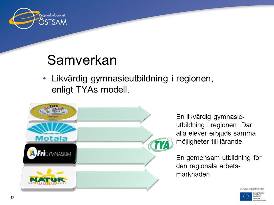 12 Samverkan •Likvärdig gymnasieutbildning i regionen, enligt TYAs modell. 2010-02-18 En likvärdig gymnasie- utbildning i regionen. Där alla elever er