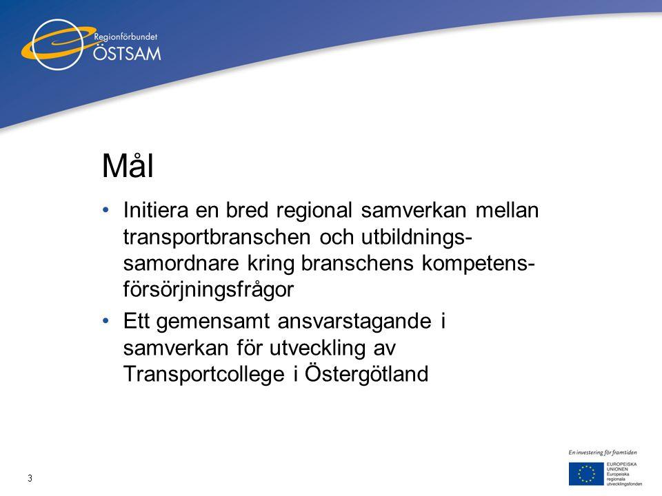 3 Mål •Initiera en bred regional samverkan mellan transportbranschen och utbildnings- samordnare kring branschens kompetens- försörjningsfrågor •Ett g