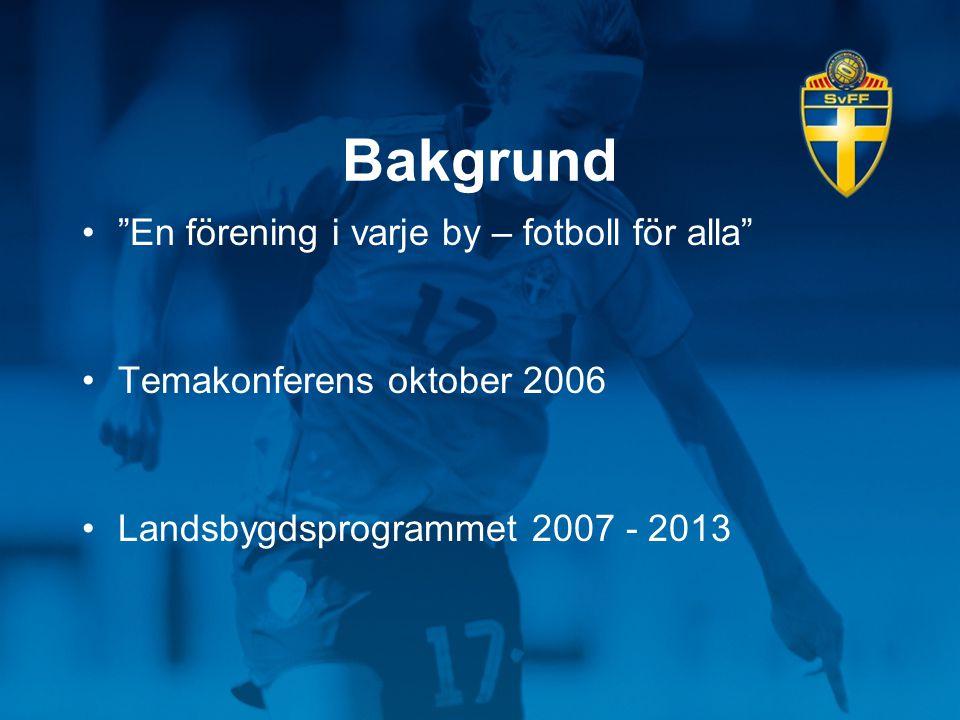 """Bakgrund •""""En förening i varje by – fotboll för alla"""" •Temakonferens oktober 2006 •Landsbygdsprogrammet 2007 - 2013"""