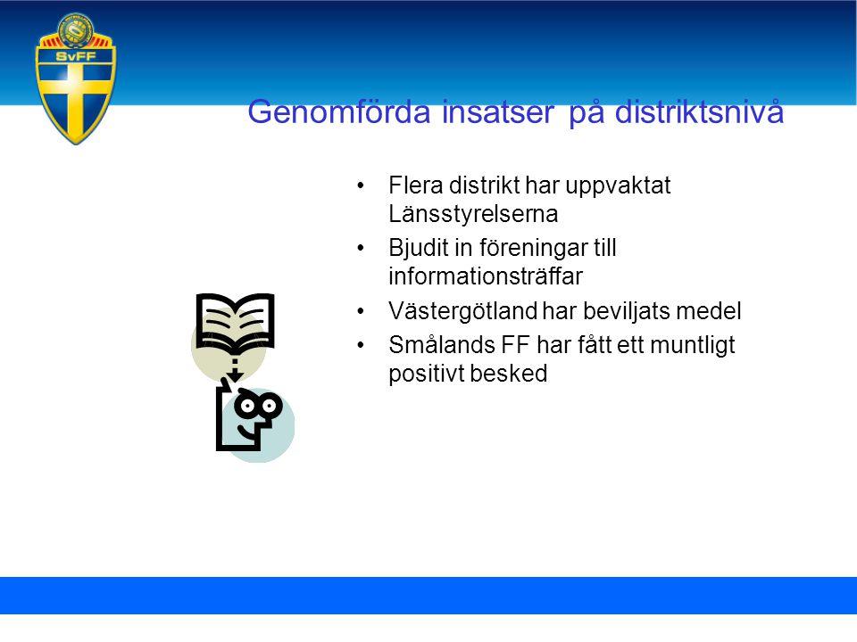 Genomförda insatser på distriktsnivå •Flera distrikt har uppvaktat Länsstyrelserna •Bjudit in föreningar till informationsträffar •Västergötland har b
