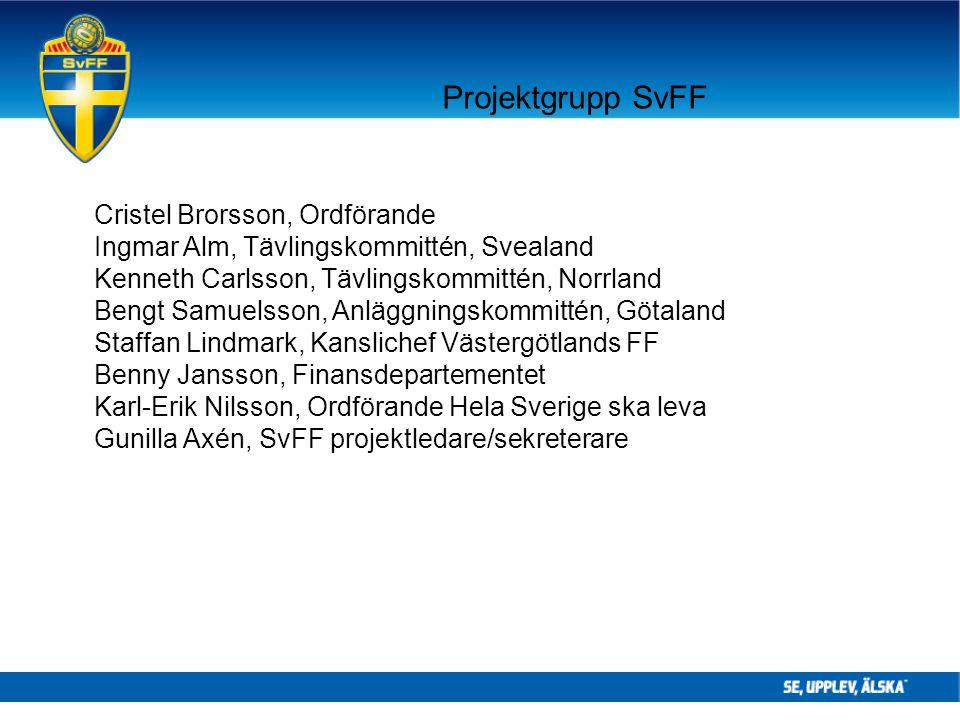 Projektgrupp SvFF Cristel Brorsson, Ordförande Ingmar Alm, Tävlingskommittén, Svealand Kenneth Carlsson, Tävlingskommittén, Norrland Bengt Samuelsson,