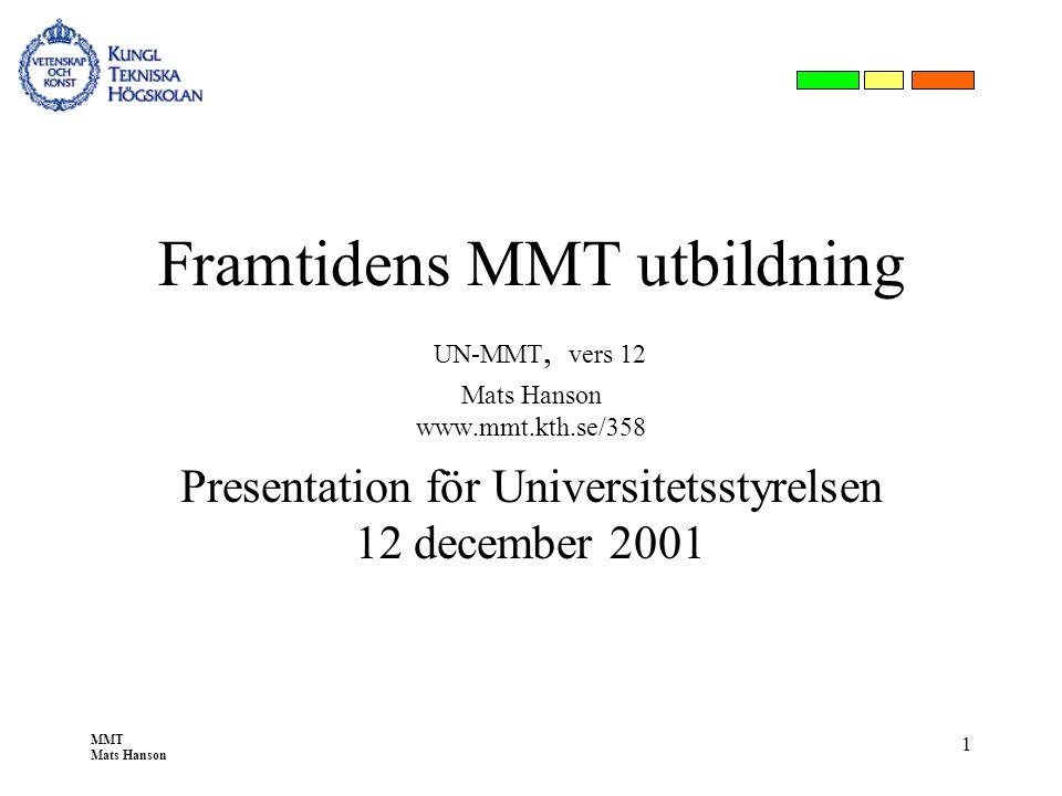 MMT Mats Hanson 1 Framtidens MMT utbildning UN-MMT, vers 12 Mats Hanson www.mmt.kth.se/358 Presentation för Universitetsstyrelsen 12 december 2001