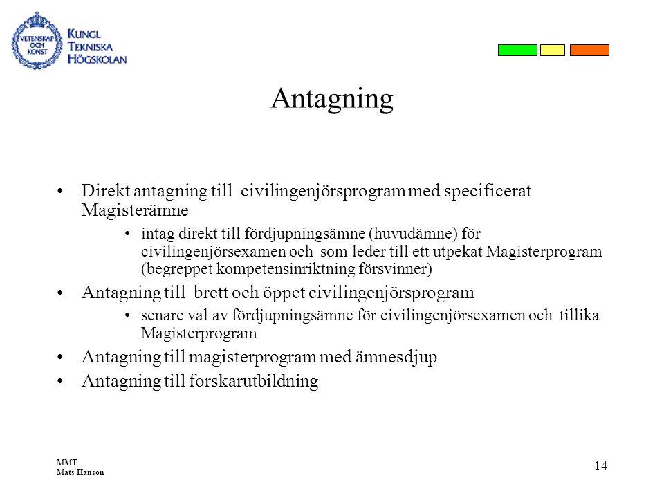 MMT Mats Hanson 14 Antagning •Direkt antagning till civilingenjörsprogram med specificerat Magisterämne •intag direkt till fördjupningsämne (huvudämne