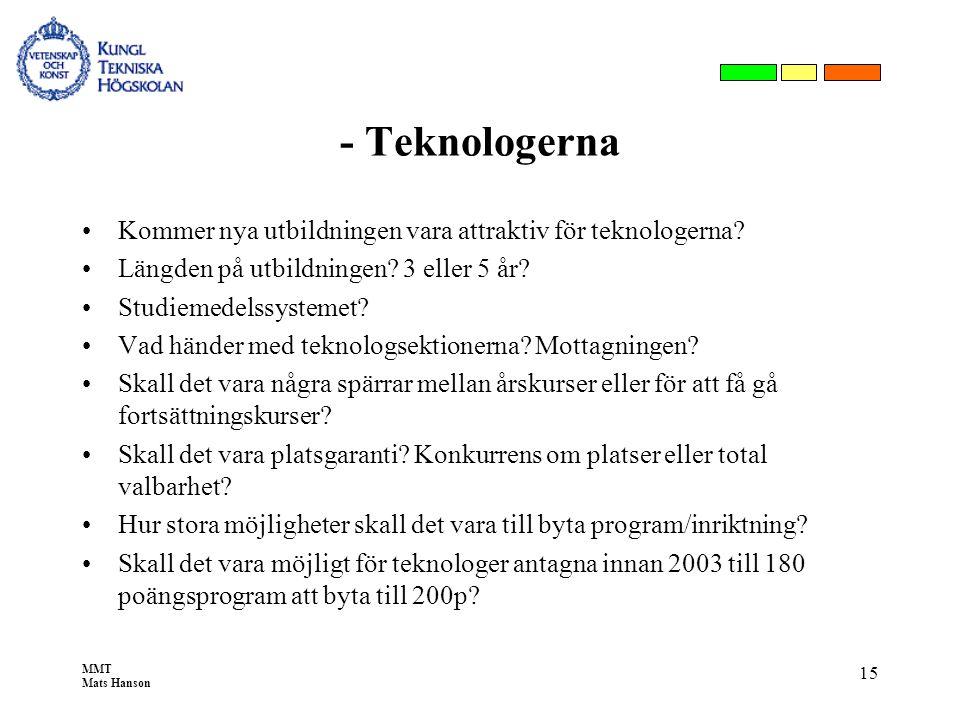 MMT Mats Hanson 15 - Teknologerna •Kommer nya utbildningen vara attraktiv för teknologerna? •Längden på utbildningen? 3 eller 5 år? •Studiemedelssyste