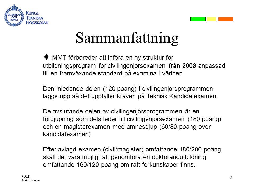 MMT Mats Hanson 2 Sammanfattning  MMT förbereder att införa en ny struktur för utbildningsprogram för civilingenjörsexamen från 2003 anpassad till en
