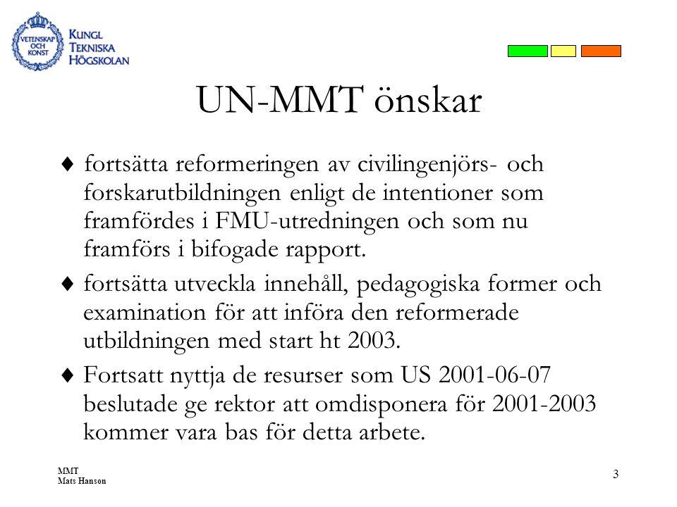 MMT Mats Hanson 3 UN-MMT önskar  fortsätta reformeringen av civilingenjörs- och forskarutbildningen enligt de intentioner som framfördes i FMU-utredn