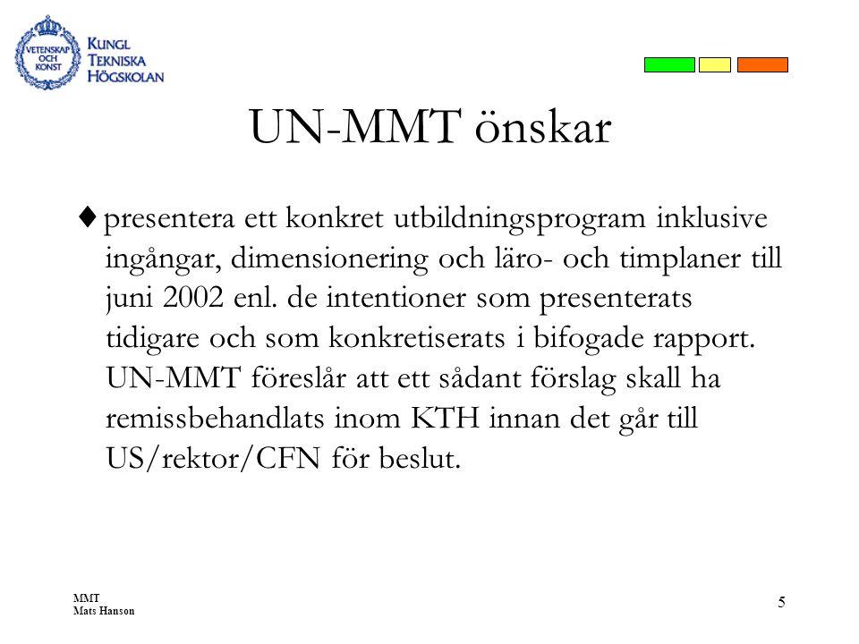 MMT Mats Hanson 5 UN-MMT önskar  presentera ett konkret utbildningsprogram inklusive ingångar, dimensionering och läro- och timplaner till juni 2002