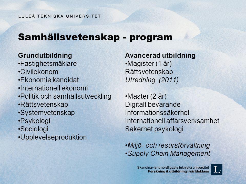 Samhällsvetenskap - program Grundutbildning •Fastighetsmäklare •Civilekonom •Ekonomie kandidat •Internationell ekonomi •Politik och samhällsutveckling