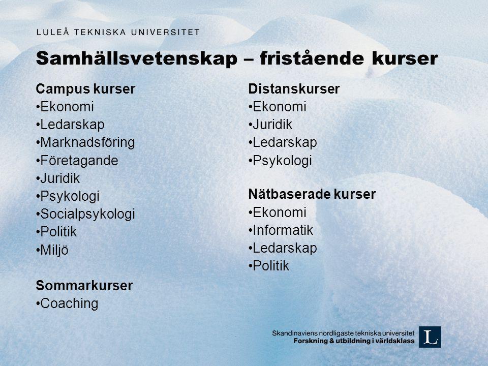Samhällsvetenskap – fristående kurser Campus kurser •Ekonomi •Ledarskap •Marknadsföring •Företagande •Juridik •Psykologi •Socialpsykologi •Politik •Mi