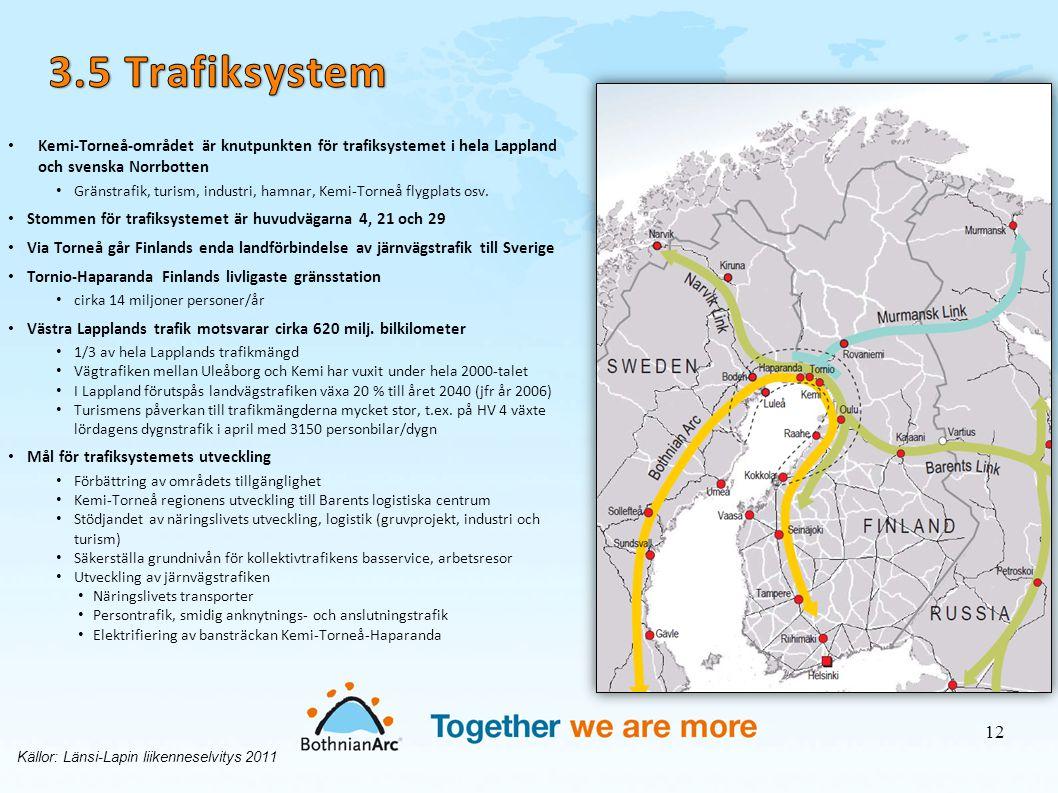 • Kemi-Torneå-området är knutpunkten för trafiksystemet i hela Lappland och svenska Norrbotten • Gränstrafik, turism, industri, hamnar, Kemi-Torneå fl