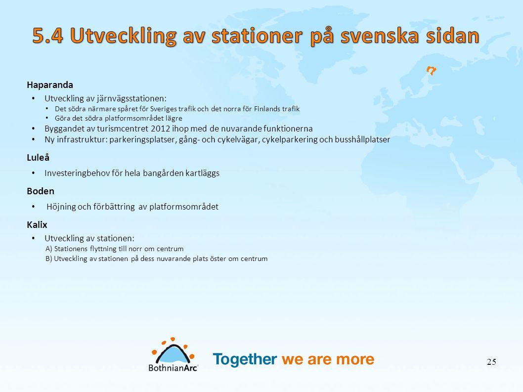 Haparanda • Utveckling av järnvägsstationen: • Det södra närmare spåret för Sveriges trafik och det norra för Finlands trafik • Göra det södra platfor