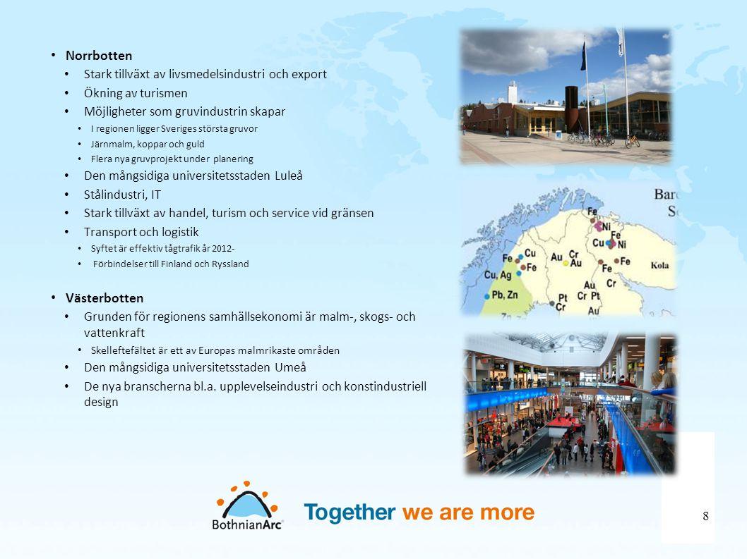 • Norrbotten • Stark tillväxt av livsmedelsindustri och export • Ökning av turismen • Möjligheter som gruvindustrin skapar • I regionen ligger Sverige