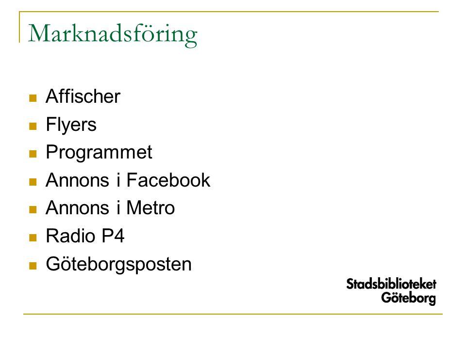 Marknadsföring  Affischer  Flyers  Programmet  Annons i Facebook  Annons i Metro  Radio P4  Göteborgsposten