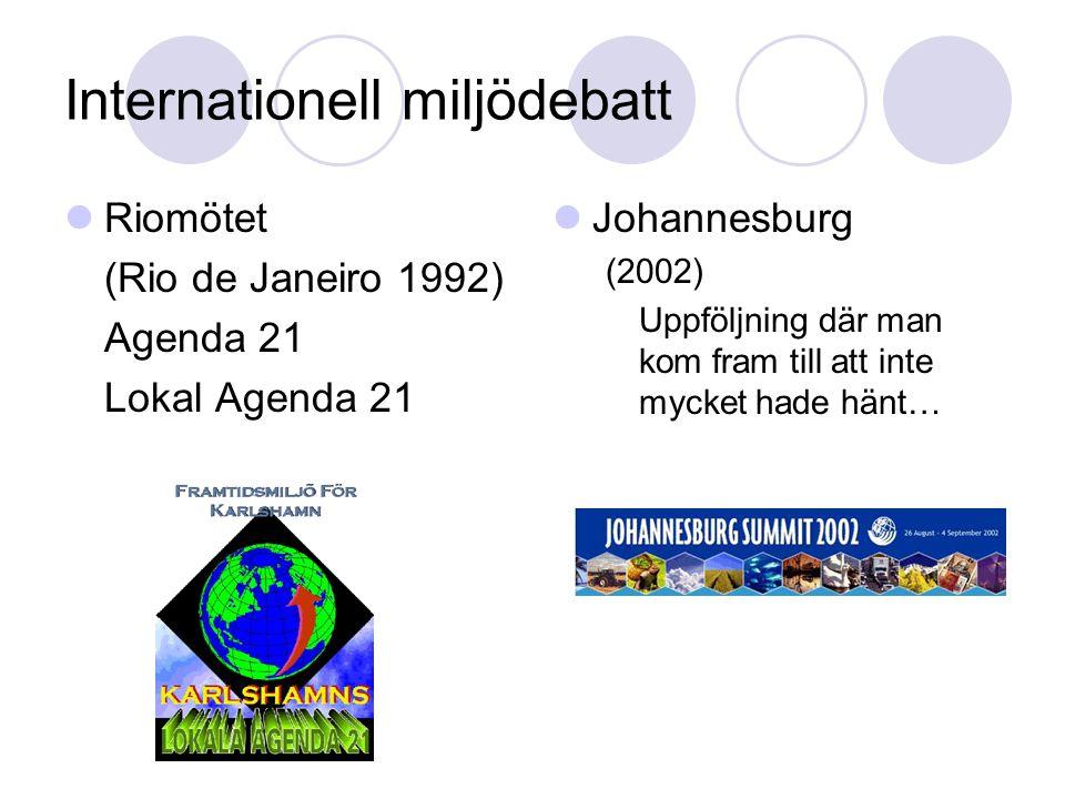 Internationell miljödebatt  Riomötet (Rio de Janeiro 1992) Agenda 21 Lokal Agenda 21  Johannesburg (2002) Uppföljning där man kom fram till att inte