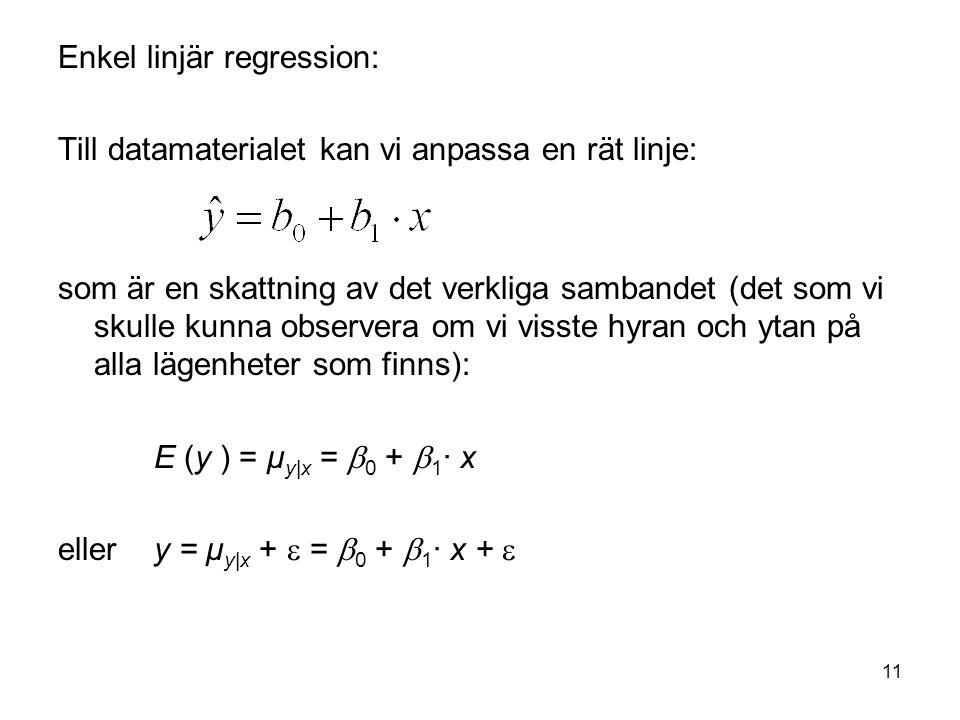 11 Enkel linjär regression: Till datamaterialet kan vi anpassa en rät linje: som är en skattning av det verkliga sambandet (det som vi skulle kunna ob