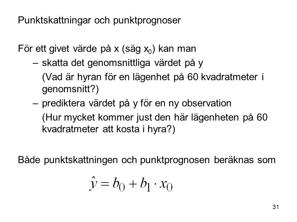 31 Punktskattningar och punktprognoser För ett givet värde på x (säg x 0 ) kan man –skatta det genomsnittliga värdet på y (Vad är hyran för en lägenhe
