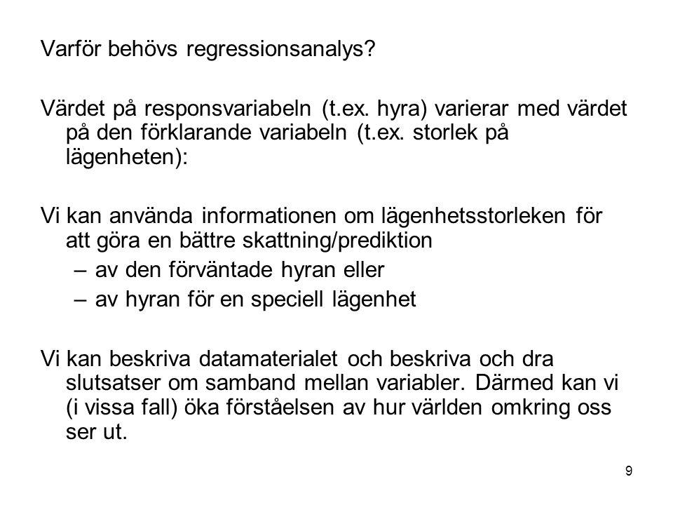 9 Varför behövs regressionsanalys? Värdet på responsvariabeln (t.ex. hyra) varierar med värdet på den förklarande variabeln (t.ex. storlek på lägenhet