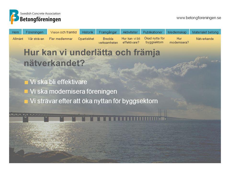 www.betongforeningen.se FöreningenHem Vision och framtidHistorikFramgångarAktiviteter Publikationer MedlemskapMaterialet betong AllmäntVår strävanFler
