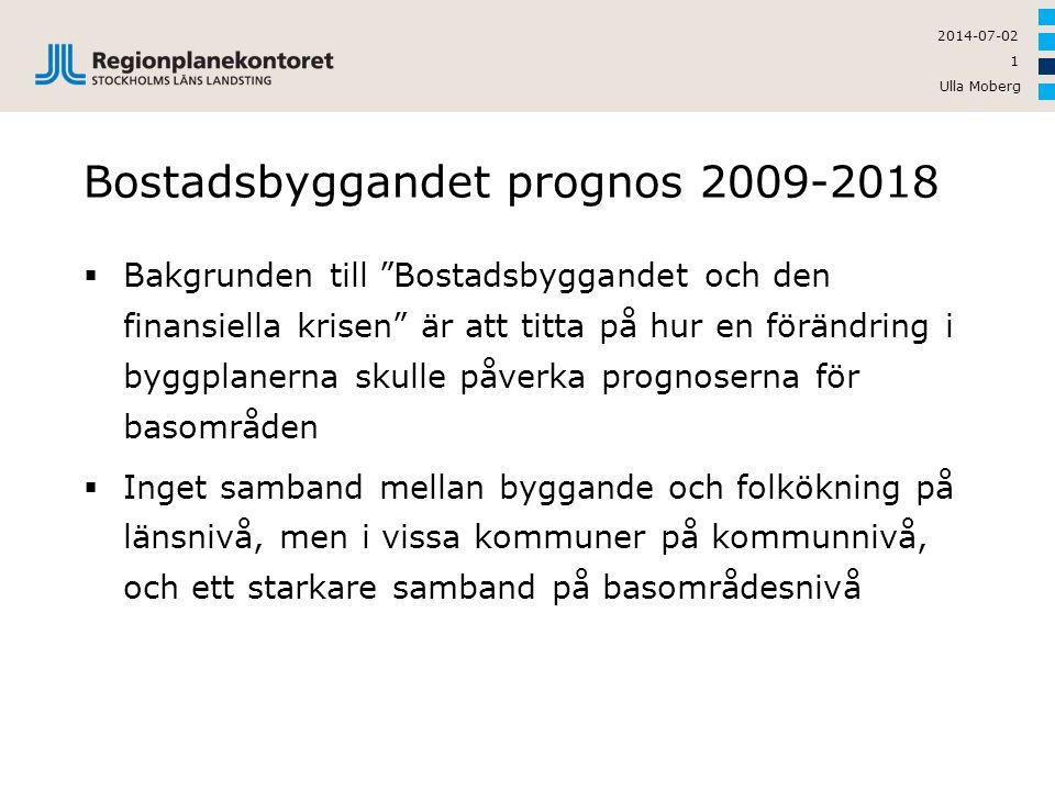 """Ulla Moberg 1 2014-07-02 Bostadsbyggandet prognos 2009-2018  Bakgrunden till """"Bostadsbyggandet och den finansiella krisen"""" är att titta på hur en för"""
