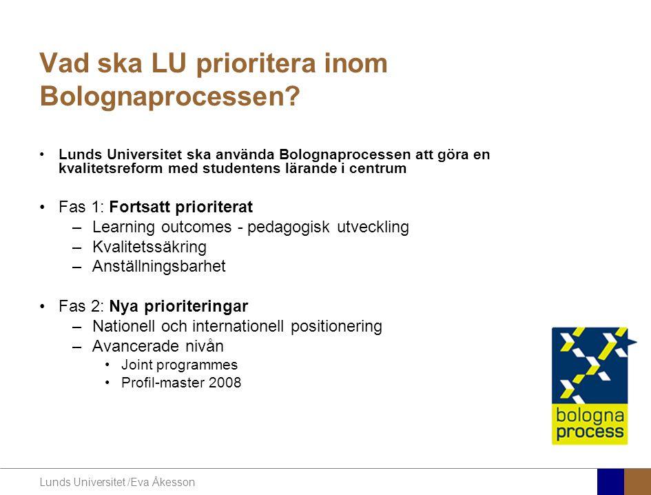 Lunds Universitet /Eva Åkesson Vad ska LU prioritera inom Bolognaprocessen.