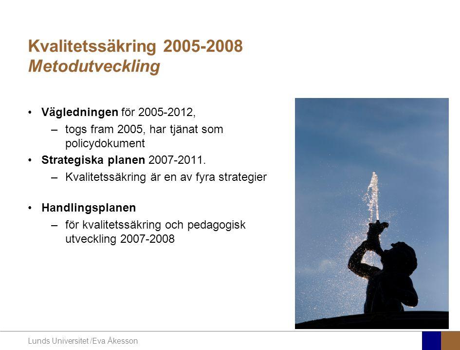 Lunds Universitet /Eva Åkesson Kvalitetssäkring 2005-2008 Metodutveckling •Vägledningen för 2005-2012, –togs fram 2005, har tjänat som policydokument •Strategiska planen 2007-2011.