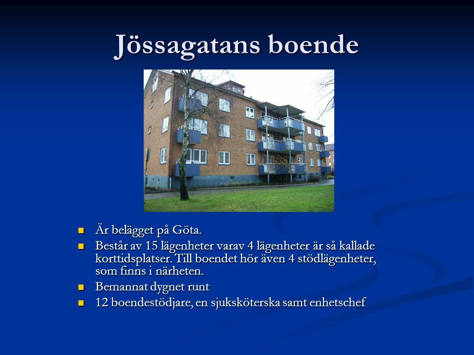 Jössagatans boende  Är belägget på Göta.  Består av 15 lägenheter varav 4 lägenheter är så kallade korttidsplatser. Till boendet hör även 4 stödläge