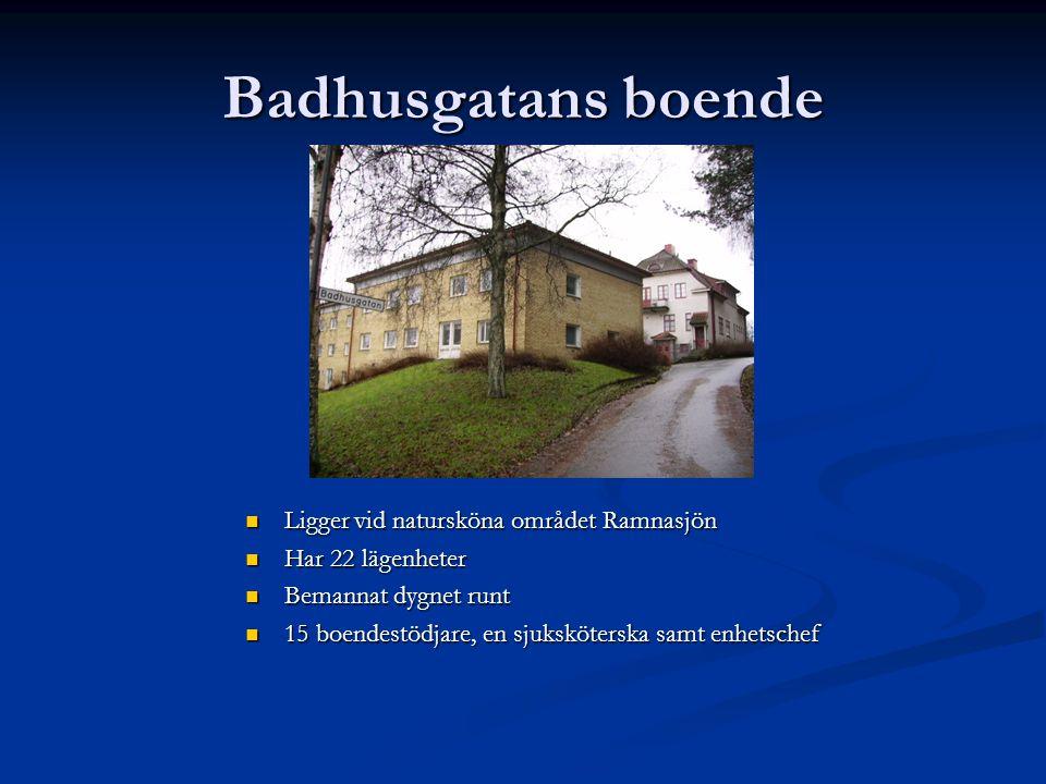 Badhusgatans boende  Ligger vid natursköna området Ramnasjön  Har 22 lägenheter  Bemannat dygnet runt  15 boendestödjare, en sjuksköterska samt en