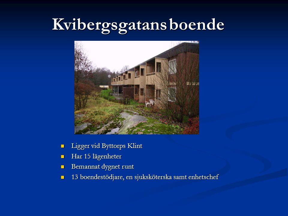Kvibergsgatansboende Kvibergsgatans boende  Ligger vid Byttorps Klint  Har 15 lägenheter  Bemannat dygnet runt  13 boendestödjare, en sjukskötersk