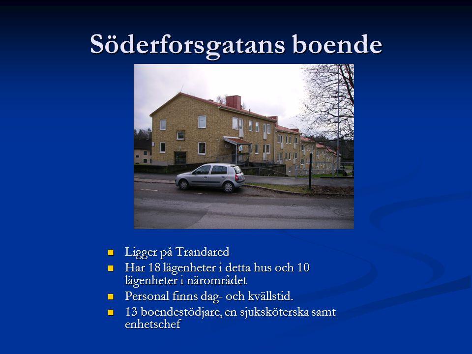 Söderforsgatans boende  Ligger på Trandared  Har 18 lägenheter i detta hus och 10 lägenheter i närområdet  Personal finns dag- och kvällstid.  13